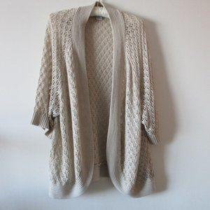 Plus Size 3X Crochet Open Front Cardigan Oatmeal